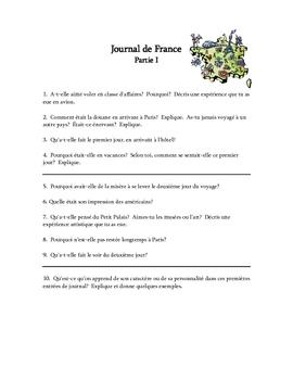Journal de France Reading Comprehension