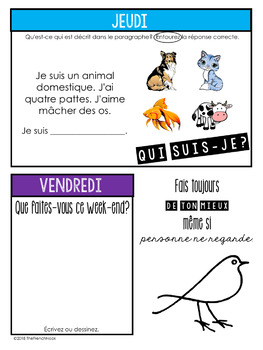 Journal du matin French bell ringer activities for an ENTIRE year!