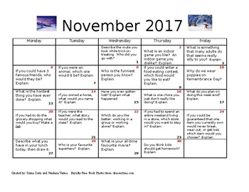 Journal entries for November 2017