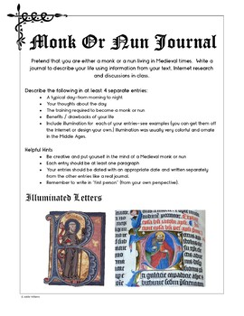 Middle Ages - Monk or Nun Journal Activity