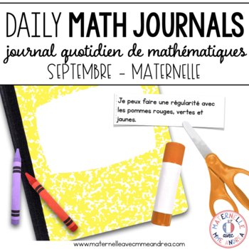 Daily French Math Journal Prompts - September (Journal de maths) MATERNELLE