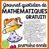 Journal quotidien de maths - (French Math Journal Prompts) - 1E ANNÉE