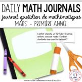 French Grade 1 Math Journal Prompts (Journal de mathématiques 1e année) MARS