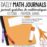 Journal quotidien de maths - OCT (French Math Journal Prompts) - 1E ANNÉE