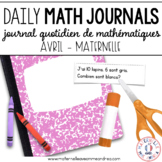 Daily French Math Journal Prompts - April (Journal de maths) MATERNELLE