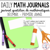 Journal quotidien de maths - decembre (French Math Journal Prompts) - 1E ANNÉE