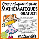 Journal quotidien de maths - (French Math Journal Prompts) - MATERNELLE