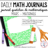 Daily French Math Journal Prompts - March (Journal de maths) MATERNELLE