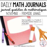 Journal quotidien de maths - novembre (French Math Journal Prompts) - 1E ANNÉE