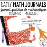 Daily French Math Journal Prompts - November (Journal de maths) MATERNELLE