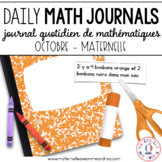 Daily French Math Journal Prompts - October (Journal de maths) MATERNELLE