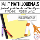 Journal quotidien de maths - septembre(French Grade 1 Sept Journal Prompts)
