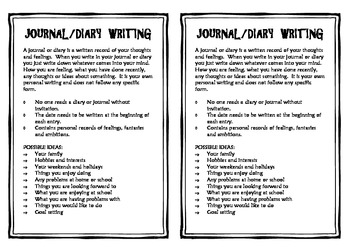 Journal/Diary Writing Prompts