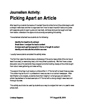 Journalism Activity: Analyzing an Inverted Pyramid News Article