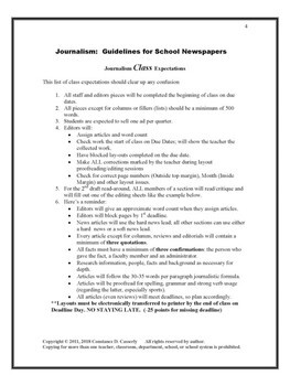 Journalism Article & Layout Rubric & Guidelines