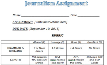 Journalism Assignment Rubric (Word Doc)