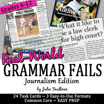 Journalism Grammar Fails in the Real World, Proofreading Task Cards, Set #1