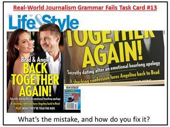 Journalism Grammar Fails in the Real World, Proofreading Task Cards