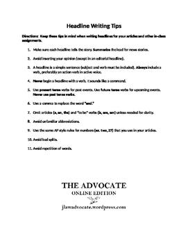 Journalism - Headline Writing Tips