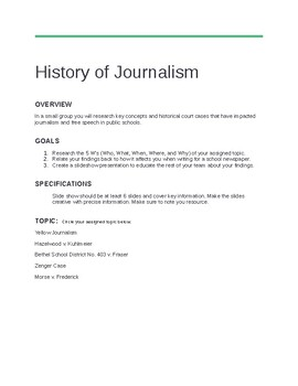 Journalism History Project
