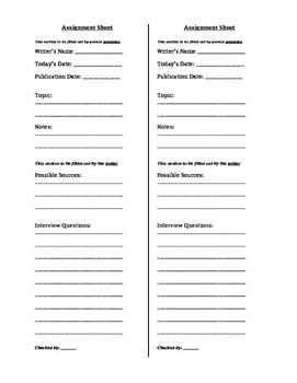 Journalism Lesson Plan: News Article Pre-writing Brainstorm Sheet