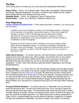Journalism — Multiple Sources News Writing Exam