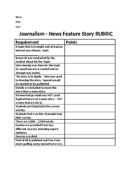 Journalism: News Feature Story Rubric