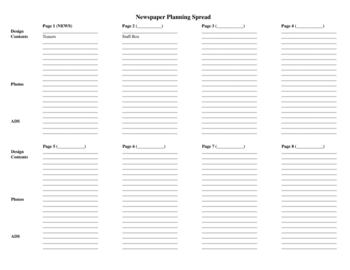 Journalism Newspaper Planning Spread Ladder