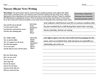 Journalism — Nursery Rhyme News Writing Activity