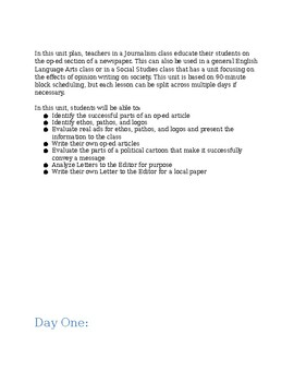 Journalism: Op-ed (opinion writing) unit plan handouts
