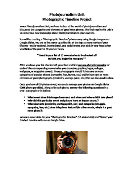 Journalism - Photographic Timeline Project