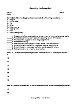 Journalism: News Reporting Notes, Quiz, & Assignment for Newspaper and Yeabook
