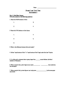 Journalism Press Law Test