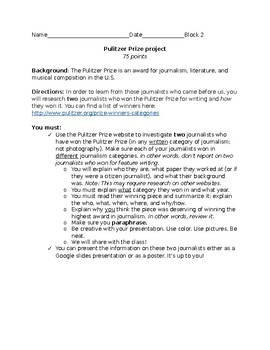 Journalism / Pulitzer Prize research project