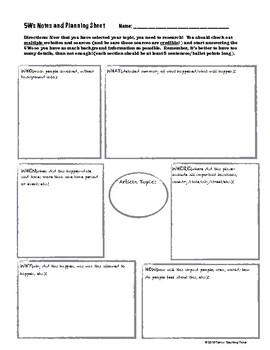 Journalism - The 5Ws graphic organizer