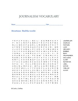 Journalism Word Search