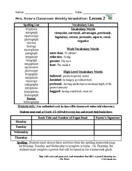 Journals Reading Series Lesson 28 Newsletter