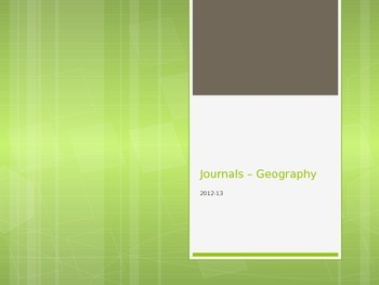 Journals for a Geography Class
