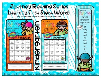 Journerys Kindergarten Reading Series Sticker Cards and Sight Word Bookmarks