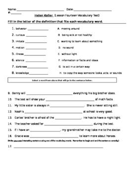 Journey's - Lesson 14 - Helen Keller - Voc Test - second grade