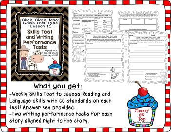 Journeys 2nd Grade Click, Clack, Moo Weekly Skills Test and Writing Tasks
