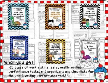 Journey 2nd Grade- Unit 6 Bundle Skills Tests and Writing Tasks