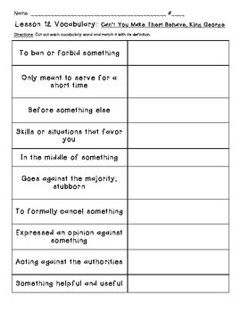 Journeys Common Core: Vocabulary Sorts for Unit 3 {Grade 5}