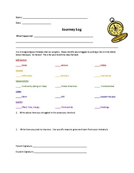 Journey Log Behavior Management Tool that is sure to improve student behavior!
