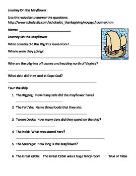 Journey On The Mayflower Internet Sheet