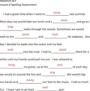 Journeys Second Grade Narrative Spelling Tests for Unit 2
