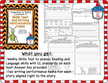 Journey Second Grade- Teacher's Pets Weekly Skills Test and Writing Tasks