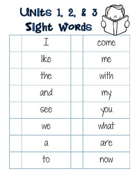 Journey Sight Word Checklist by Unit