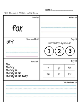Journey Unit 3 High Frequency Words Practice