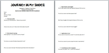 Journey in My Shoes- Student Notes Sheet
